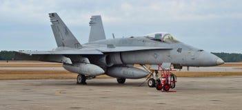 海军F-18大黄蜂喷气式歼击机 库存照片
