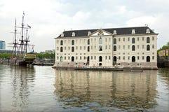 海博物馆和复制品VOC船阿姆斯特丹 库存图片