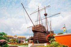海博物馆木船在马六甲,马来西亚 库存图片
