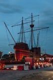 海博物馆马来人:Muzium Samudera在晚上是一个博物馆在马六甲市,马六甲,马来西亚 库存照片