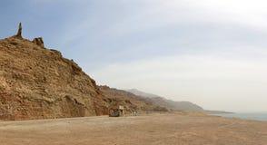 死海和全部的妻子的全景雕象 免版税库存照片