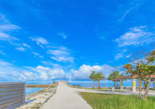 海和天空在热带海岛 库存照片