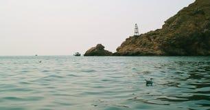 黑海和岩石 免版税库存照片