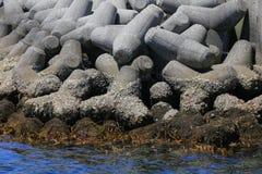 海和岸破碎机混凝土,大阪,日本 免版税库存照片