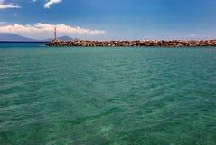 海和灯塔 库存图片