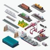 海和物品的铁路运输,交付货物 库存图片