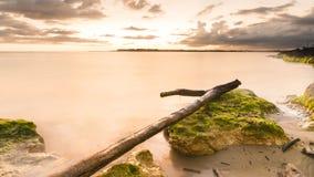 海和绿色岩石美好的长的曝光风景  免版税库存照片
