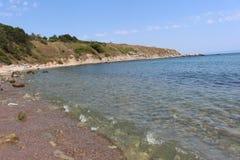 黑海和蓝天在从切尔诺莫雷茨镇的保加利亚  库存图片