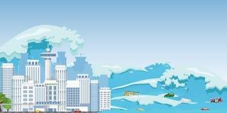 海啸波浪毁坏的城市 免版税库存图片