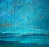 海在帆布的风景油,绘 免版税库存照片