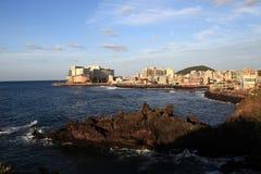 海在日落的韩国 库存照片