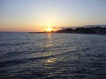 黑海在晚上 图库摄影