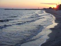 黑海在晚上 免版税图库摄影