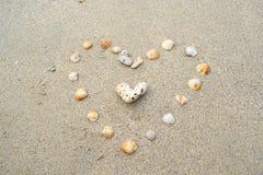 海在沙子背景的壳心脏 免版税库存图片