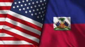 海地和美国旗子- 3D例证两旗子 库存例证