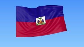 海地,无缝的圈的挥动的旗子 确切大小,蓝色背景 被设置的所有国家的地区 与阿尔法的4K ProRes 皇族释放例证