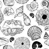 海壳和海胆壳无缝的样式 免版税库存照片