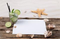 海壳和mojito 免版税库存图片