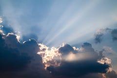 海天空和日落风景 免版税库存照片
