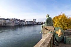 海尔维第雕象在巴塞尔,瑞士 库存照片