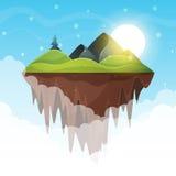 海岛动画片 山和太阳 库存例证