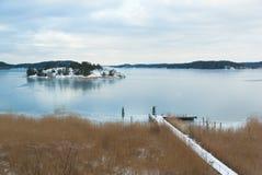 海岛在冬天 免版税库存图片