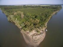 海岛在多瑙河从上面 图库摄影