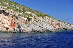 海岛在爱奥尼亚海,扎金索斯州 库存图片