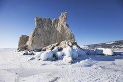 海岛在贝加尔湖小海  33c 1月横向俄国温度ural冬天 免版税库存照片