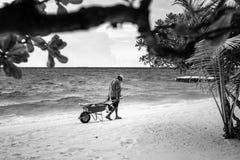 海岛工作者 库存图片
