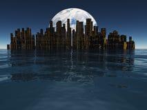 海岛或浮动城市有以远行星或月亮的 免版税库存照片