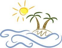 海岛掌上型计算机阳光结构树 向量例证