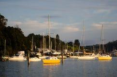 海岛新西兰海湾的Opua小游艇船坞  库存图片