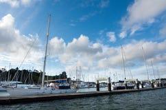 海岛新西兰海湾的Opua小游艇船坞  免版税库存图片