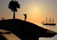 海岛日落影子 图库摄影