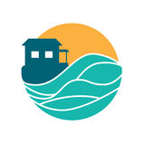 海岛村庄传染媒介圆的商标 库存图片