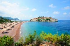 海岛横向montenegro stefan sveti 库存照片