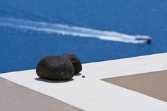 海岛横向santorini 免版税库存图片