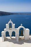 海岛横向santorini 免版税图库摄影