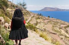 海岛湖秘鲁taquile titicaca 免版税库存照片