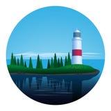 海岛灯塔 库存照片