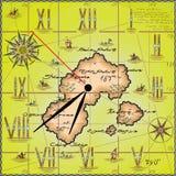 以海岛的地图的形式传染媒介例证 免版税库存照片