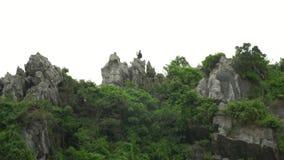 海岛的绿色上面的游人 与背包的一次旅行 猴子海岛  挑运游人 岩石的人们 股票视频