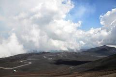 海岛的西西里岛,意大利埃特纳火山 库存图片