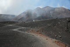 海岛的西西里岛,意大利埃特纳火山 库存照片