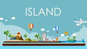 海岛的飞行的旅行 使游览靠岸,飞行的飞机,例证动画,假期 2 皇族释放例证