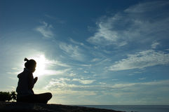 海岛祈祷的日出 库存照片