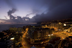 海岛马德拉岛晚上 库存照片