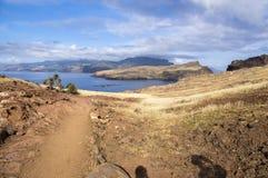 海岛马德拉岛, Ponta de圣洛伦索, Canical镇,半岛,干旱气候的最东部部分 库存照片