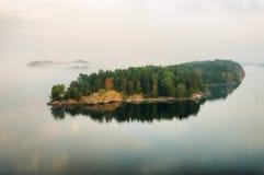 海岛 有雾的早晨 库存照片